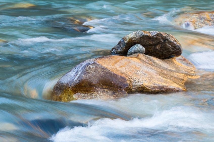 Rocks in a rapid river